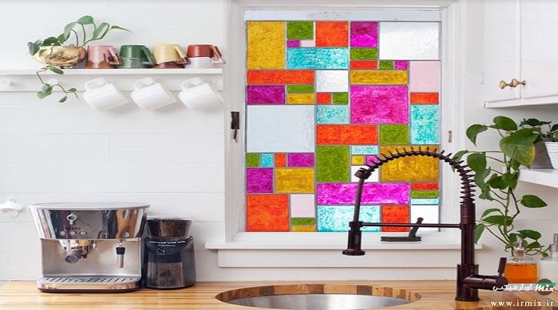 آموزش تصویری رنگ کردن شیشه پنجره با رنگ ویترای