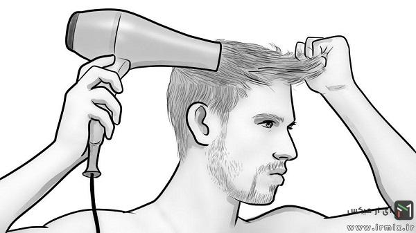 آموزش سشوار کشیدن جلوی مو مردانه