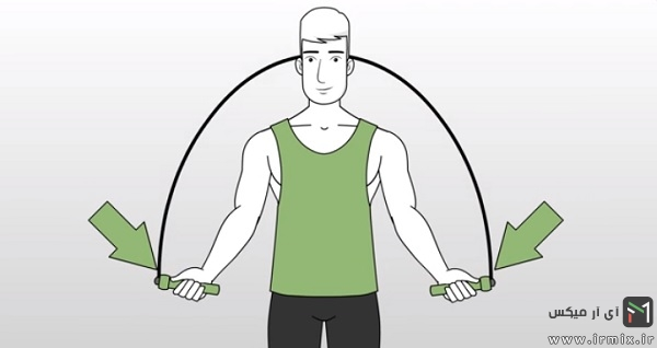 از دستان و مچ دست خود استفاده کنید تا طناب را روی سرتان بچرخانید