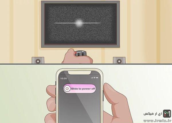 خاموش کردن موبایل و تی وی