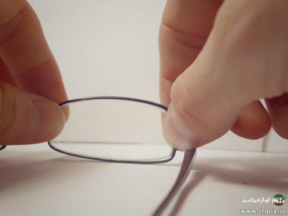 جا انداختن شیشه عینک نیم فریم