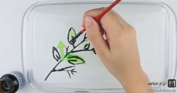 سبز کردن برگ ها با قلم مو