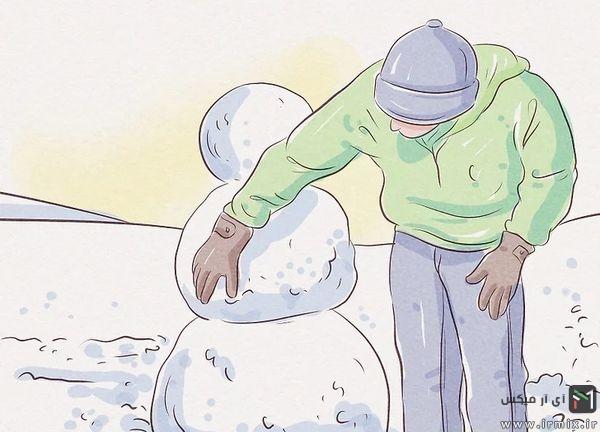 ساختن آدم برفی با برف