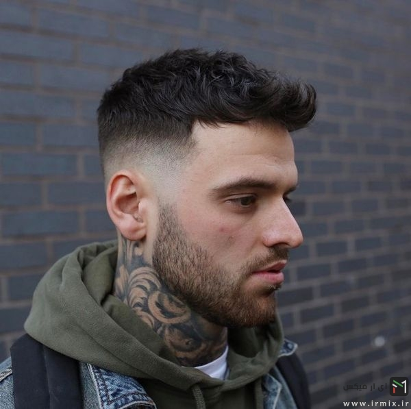 Short Textured Quiff Haircut + Mid Fade