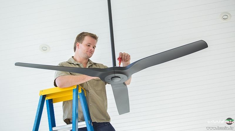 آموزش تصویری نحوه تعمیر اجزای پنکه سقفی در خانه