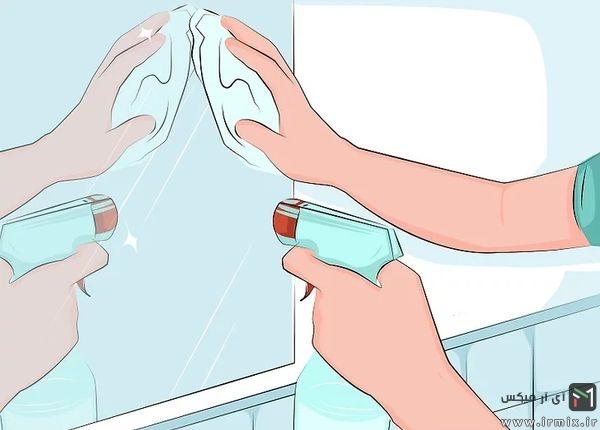 تمیز کردن آینه دیواری