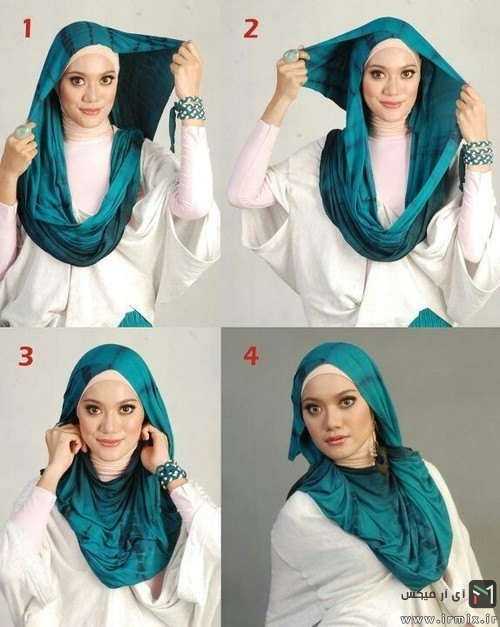 روش بستن روسری و شال ساتن به سبک جدید