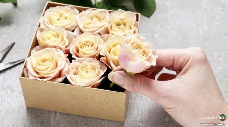 آموزش تصویری ساخت باکس گل لاکچری با جعبه هدیه