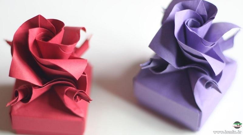 آموزش تصویری ساخت جعبه کادویی به شکل گل رز در خانه