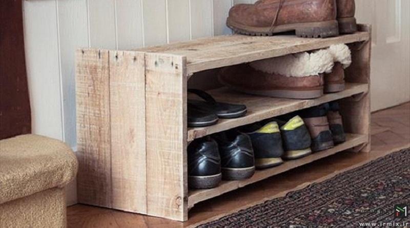 آموزش تصویری ساخت جاکفشی چوبی با جبعه میوه در خانه