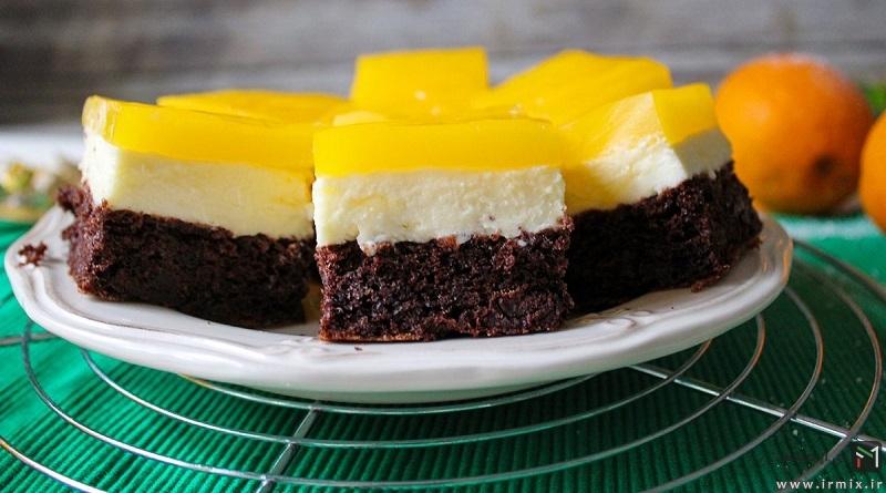 آموزش تصویری طرز تهیه چیز کیک با پایه کیک شکلاتی و رویه ژله