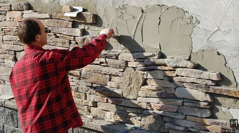 آموزش تصویری نحوه نصب سنگ آنتیک روی دیوار گچی و کاشی