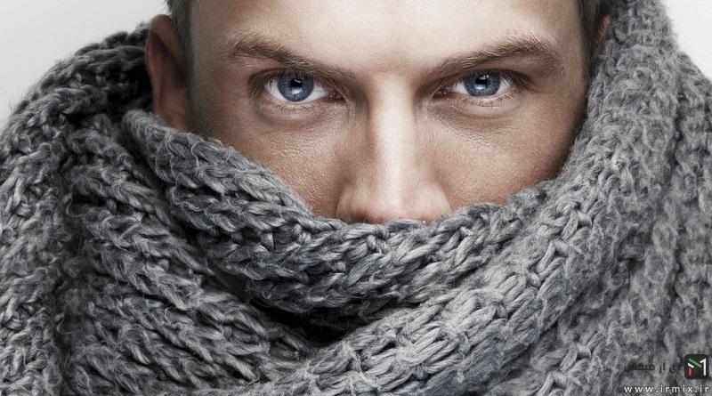 آموزش تصویری بافت شال گردن اسپرت مردانه با دو میل
