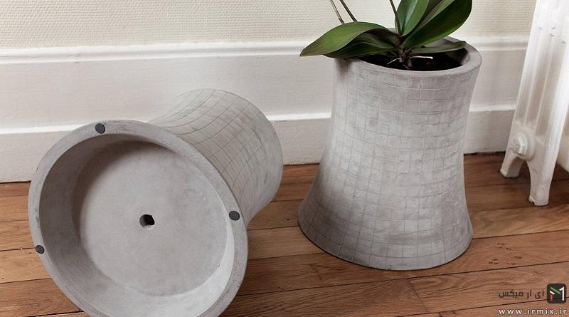 آموزش تصویری ساخت گلدان سیمانی و بتنی بزرگ در خانه