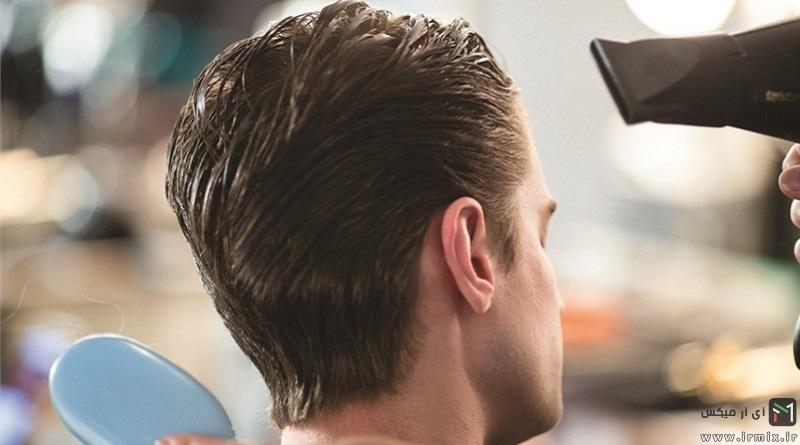 آموزش نحوه صحیح سشوار کشیدن موی فر مردانه در خانه