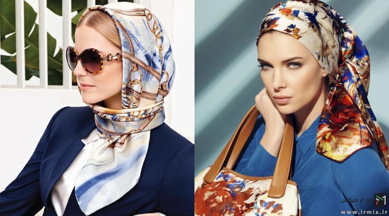 آموزش تصویری ۱۰ روش بستن روسری و شال ساتن به سبک جدید