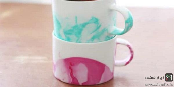 ساخت فنجان های رنگی با استفاده از لاک ناخن