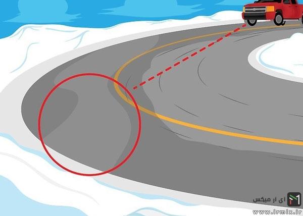 رانندگی در جاده برفی