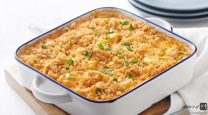 آموزش پخت ماکارونی با مرغ و طرز تهیه ماکارونی با سویا در خانه