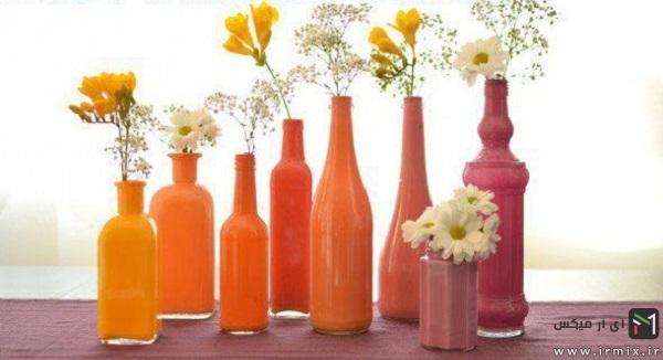 ساخت گلدان های رنگی با استفاده از بطری های بی استفاده