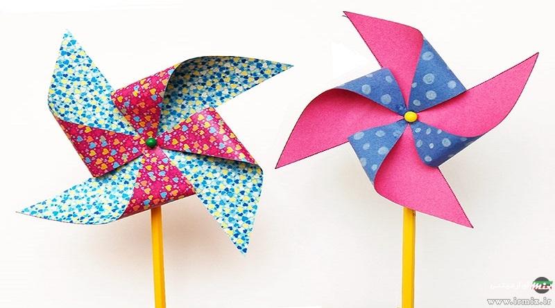 آموزش ساده ساخت فرفره کاغذی به شکل گل در خانه