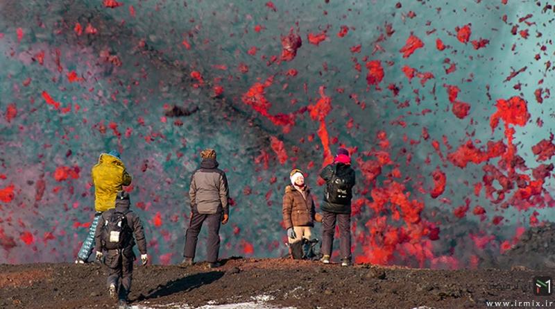 برای اولین بار در جهان : اسکیت سواری اینبار بر روی گدازه های داغ آتشفشان