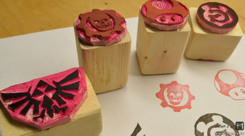 آموزش تصویری ساخت مهر در خانه به کمک رنگ ، سیب زمینی و یا یک تکه چوب